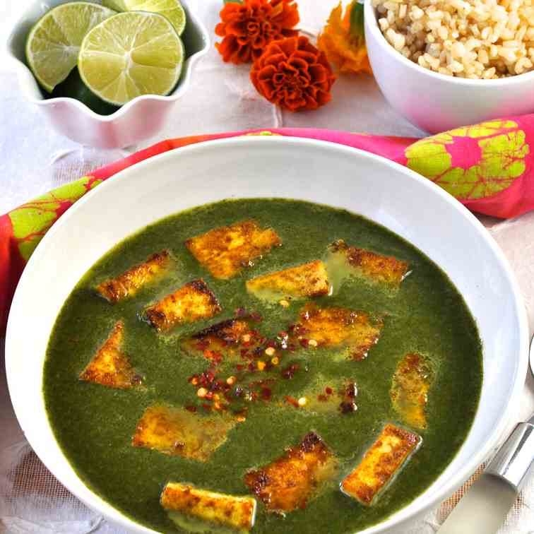 Palak Paneer with Tofu - Spinach Gravy