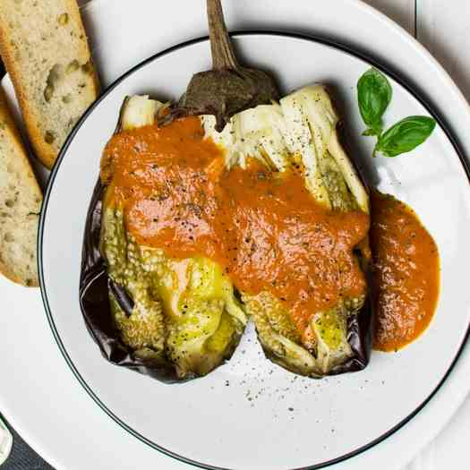 Roasted eggplant with tomato sauce