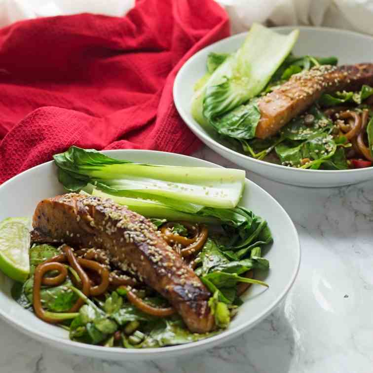 Teriyaki Salmon with Udon Noodles