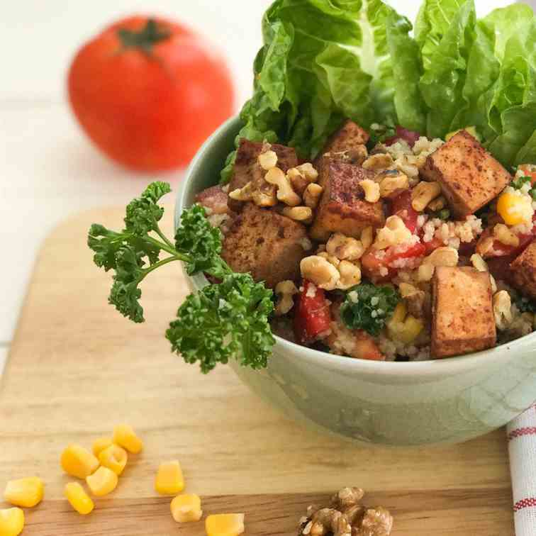 Couscous Salad with Bell Pepper, Tofu and
