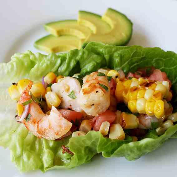 Grilled Shrimp & Organic Corn Salsa Wraps