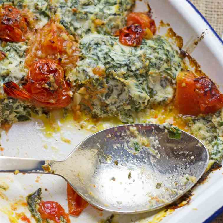 Ricotta and Spinach Gnudi Bake