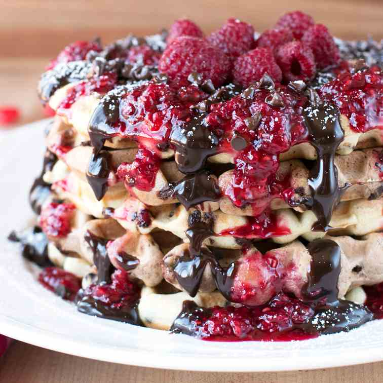 Double Chocolate Chip Raspberry Waffles