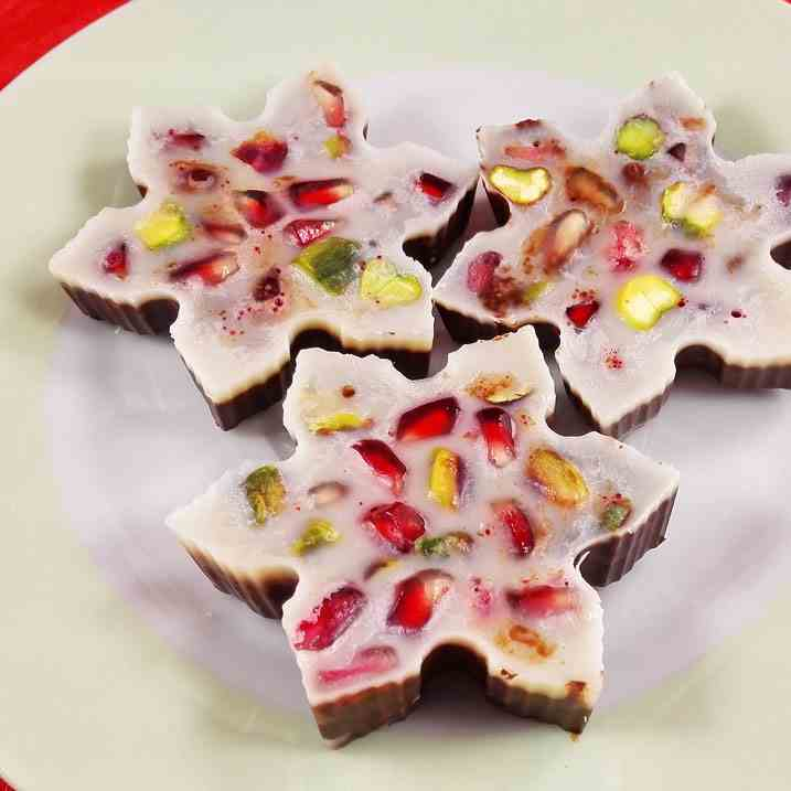 Pomegranate Chocolate Snowflakes