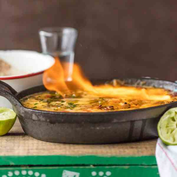 Tequila Lime Flaming Queso