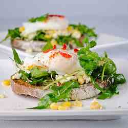 Feta Cheese, Arugula and Poached Egg Open