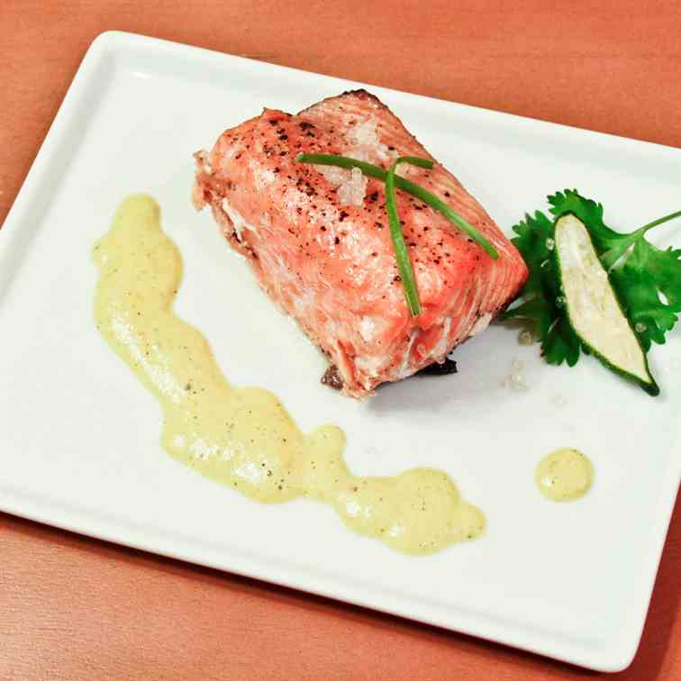 Grilled Salmon with Hatch Chile Cream