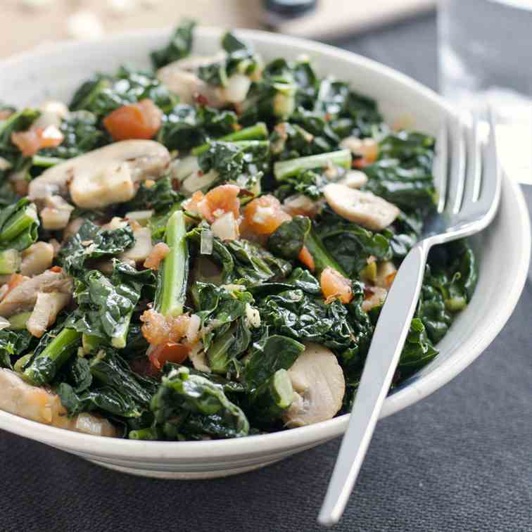 Sauteed Kale with Mushrooms and Tomatoes