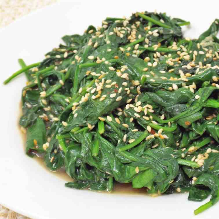 Sesame Garlic Spinach