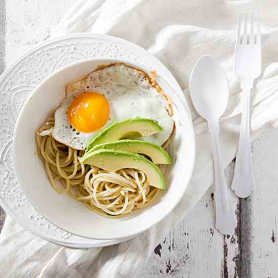 Avocado with Pasta, Egg - Ginger