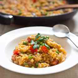 Chorizo, bell pepper and sweet pea risotto