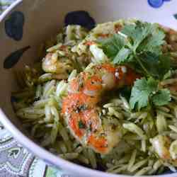 Grilled Shrimp with Chimichurri Orzo
