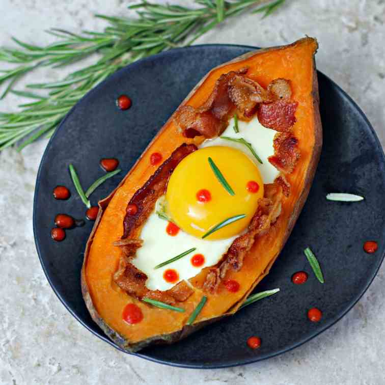 Bacon Egg Stuffed Sweet Potato