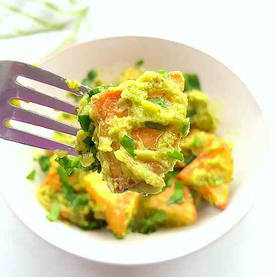 Roasted Potato Salad w-Avocado Dressing