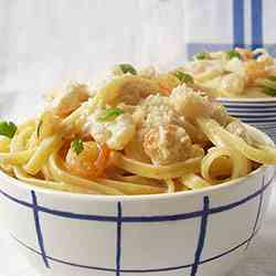 Shrimp Pasta with Parmesan Cheese Sauce