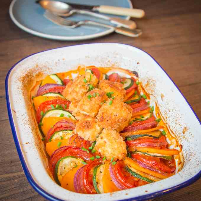 Ratatouille with Feta Croutons
