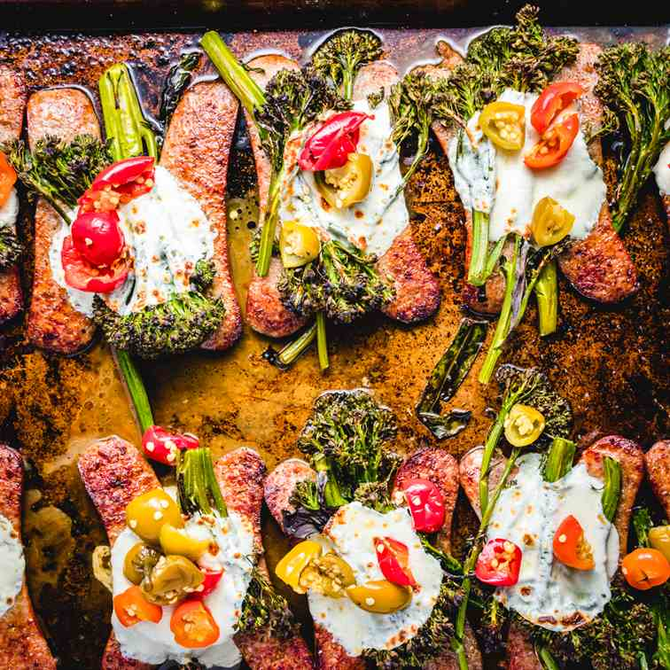 Broccolini And Sausage Sheet Pan Dinner