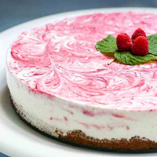 Raspberry Vanilla Swirl Ice Cream Pie