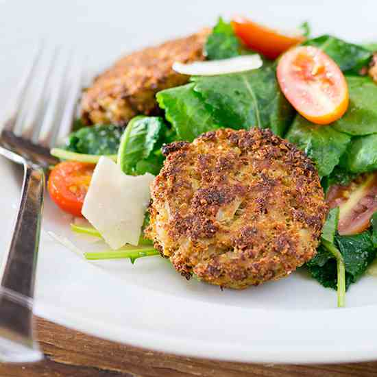 Baby Kale Salad with Cauliflower Fritters