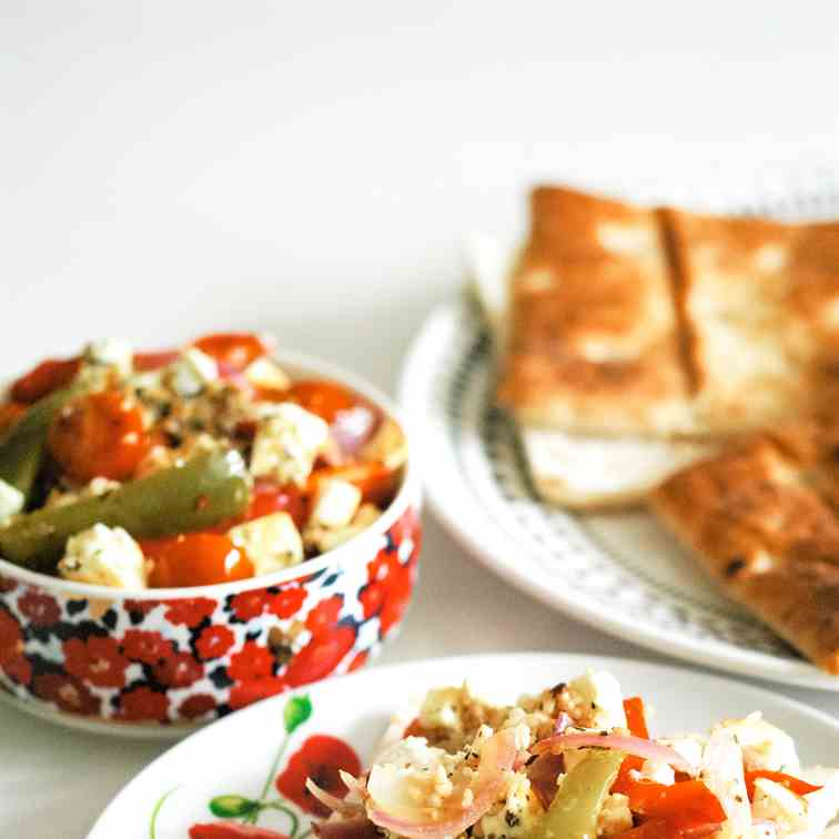Roasted Feta Salad with Peppers - Tomatoes