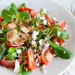 Lamb's Lettuce Salad with Feta and Tomato