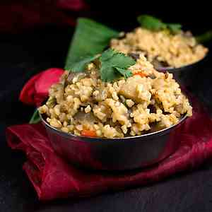 Spicy Bulgur Eggplant Pilaf, Vegan