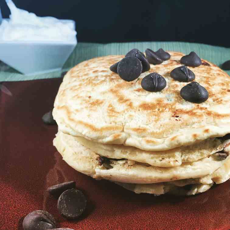 Chocolate Chip Pancakes with whipped Cream
