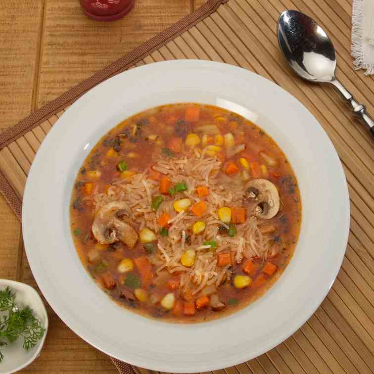 Spicy Sweet Corn and Mushroom Rice Soup