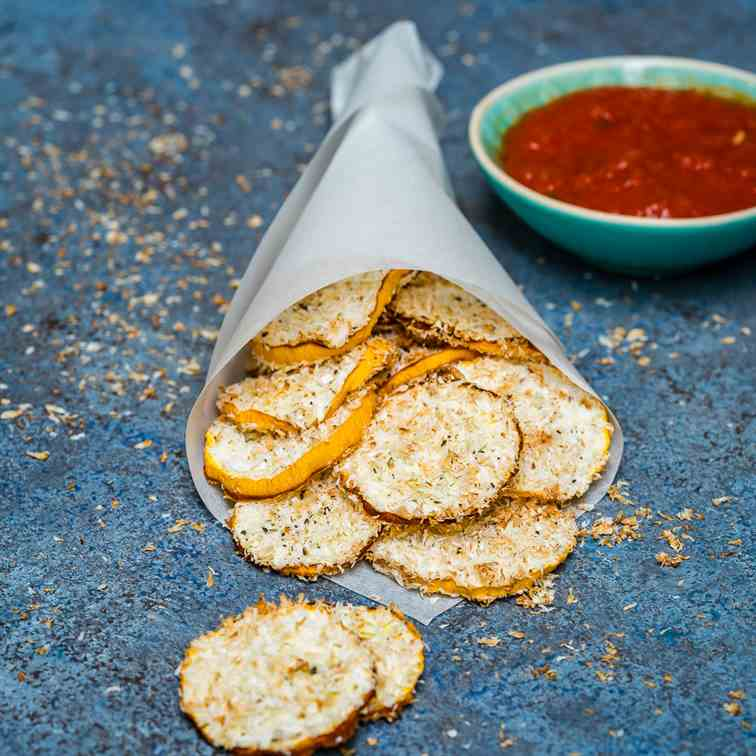 Baked Zucchini Chips With Shredded Coconut