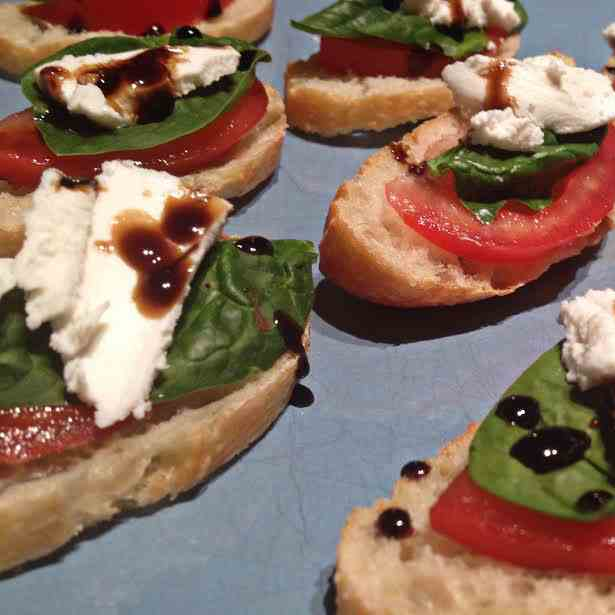 Tomato, Spinach and Goat Cheese Stacks