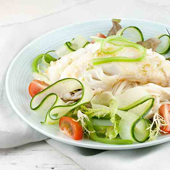 Cod, flat beans and noodle spring salad