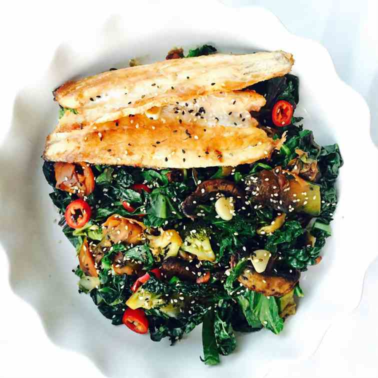 Cavalo nero and kale sea bass stir fry