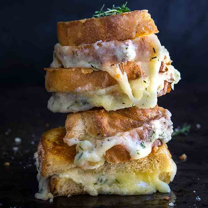 Garlic and herb loaded grilled cheese