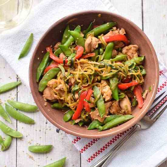 Zucchini Noodle Stir Fry with Chicken