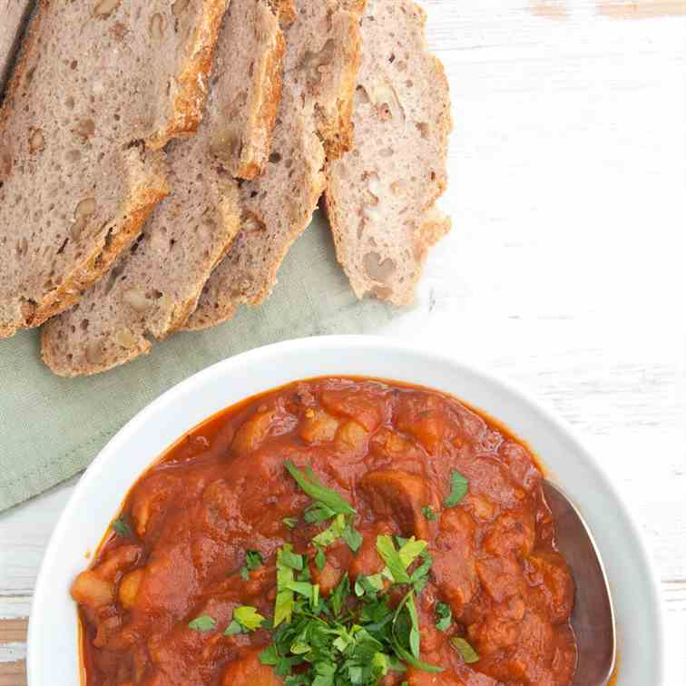 Vegan Goulash with Seitan Sausages