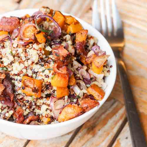 Sweet Potato and Bacon Quinoa Bowls