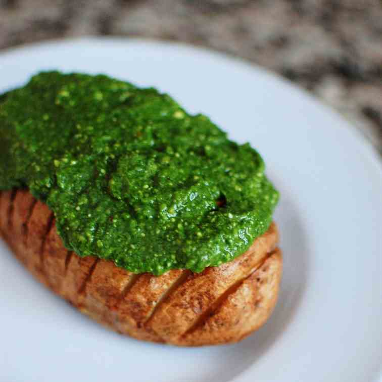 Hasselback Potatoes with Spinach Pesto