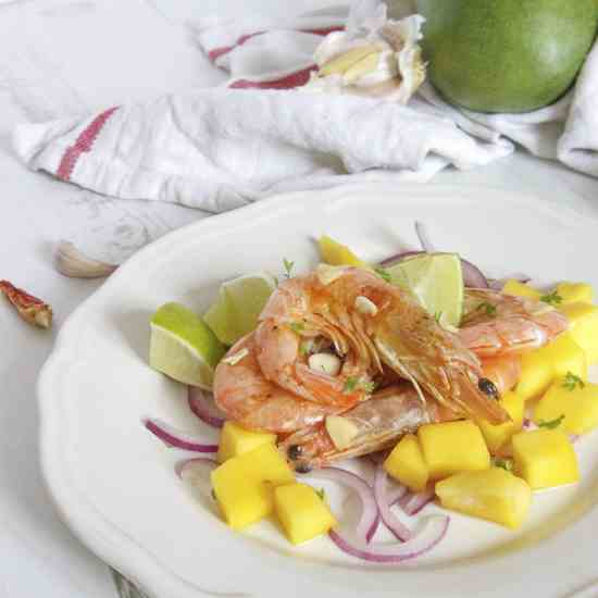 King Prawns and Mango Salsa