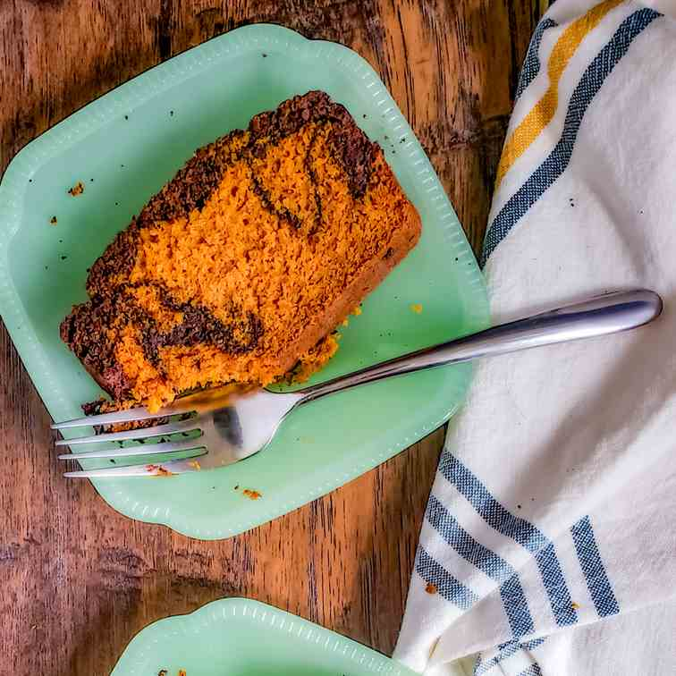 Pumpkin Spice Bread with Chocolate Swirl