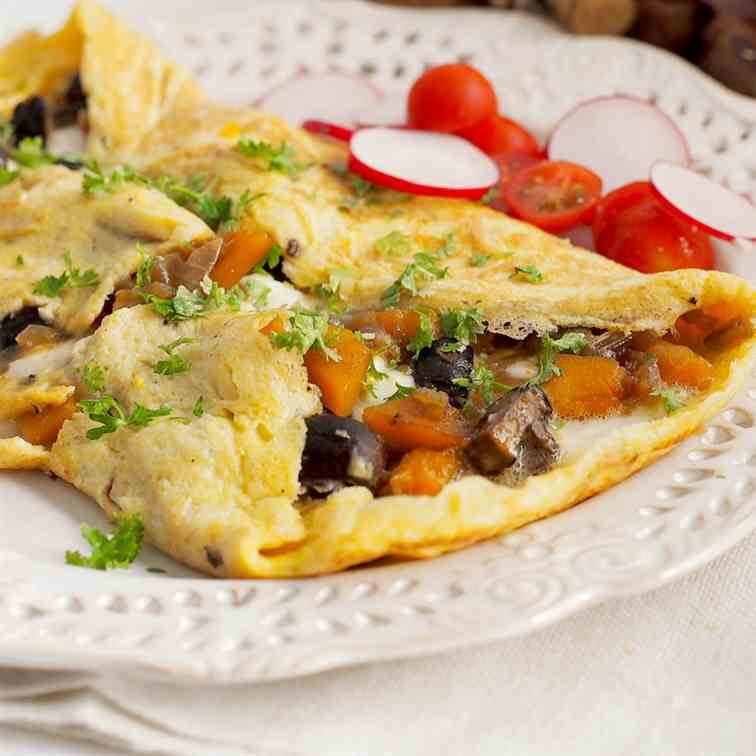 Omelet with mushrooms and pumpkin