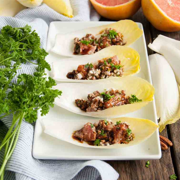 Endives with Grapefruit, Feta, and Pecans