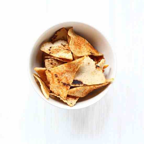 Spicy oven baked corn tortilla chips