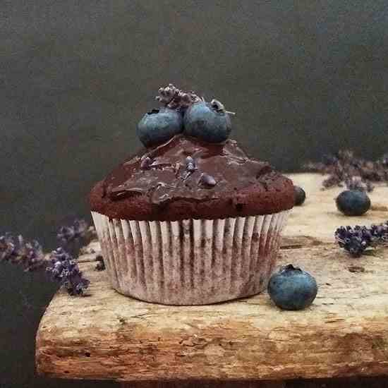 Lavender Blueberry Double Chocolate Muffin