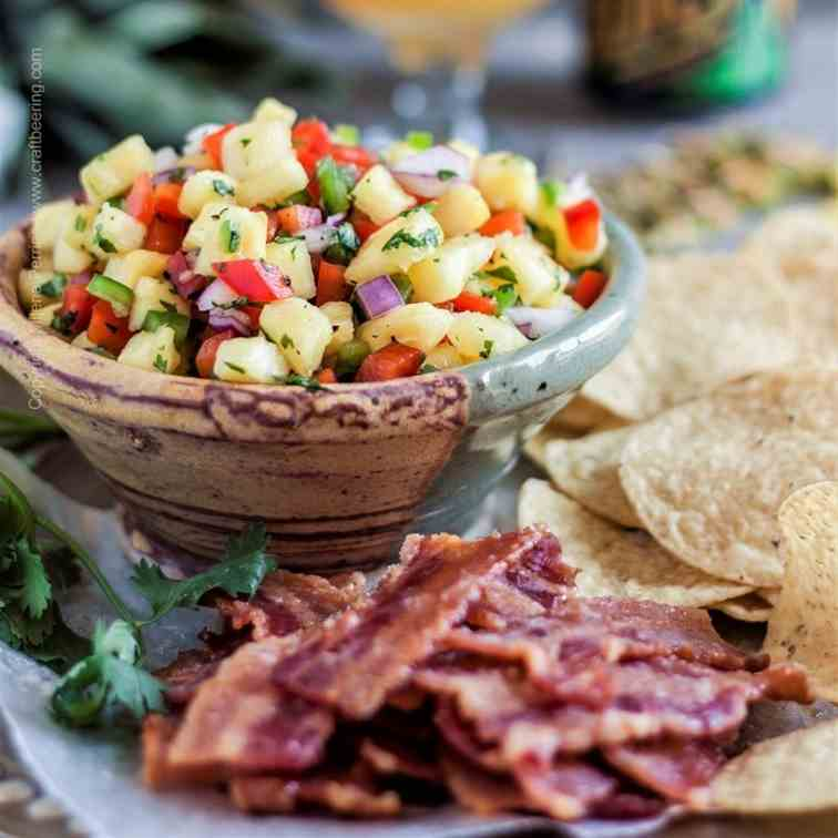 Pineapple Salsa with Candied Bacon Chips