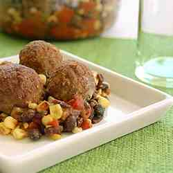 SW Meatballs &Black Bean Corn Salsa