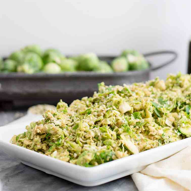 Shaved Brussels Sprouts Salad with Creamy