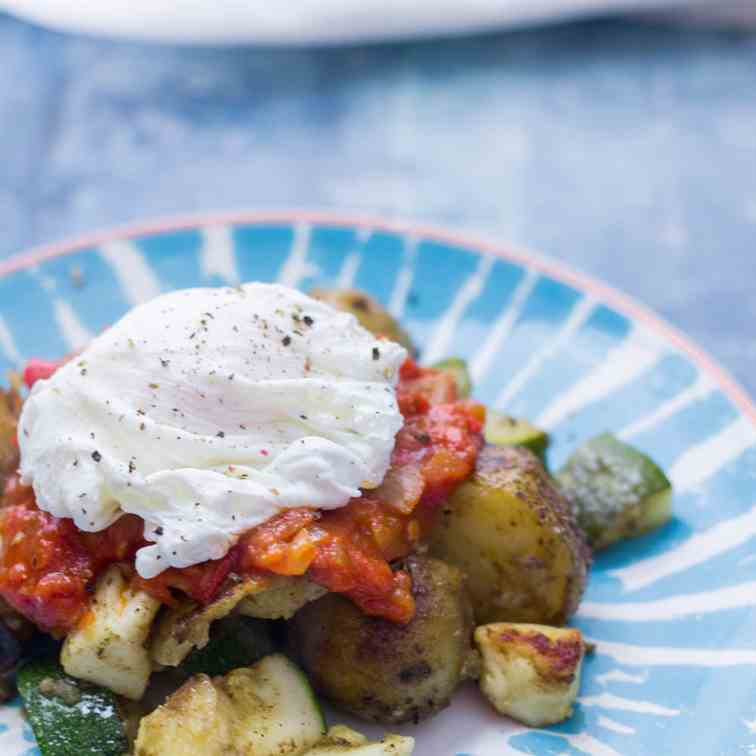 Potato, Courgette - Halloumi Hash