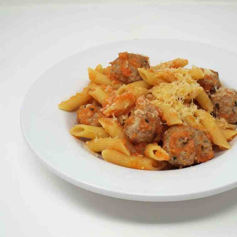 Penne with Mini Turkey Meatballs