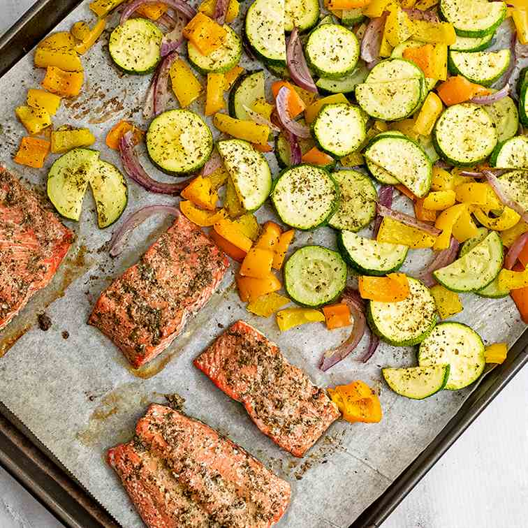 Greek Salmon Sheet Pan Meal