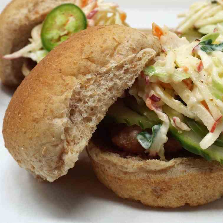 Turkey Sliders with Slaw and Fresh Pickles